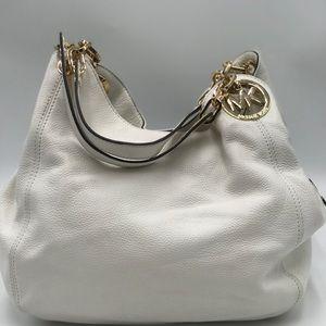 Michael Kors White leather hobo style bag.